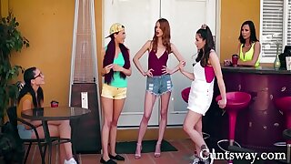 Rich Hot Teen Girls Dominate The New Girl In School