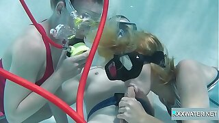 Minnie Manga and Marcie blow huge cock in the pool