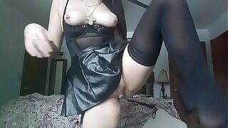 Goth goddess getting off in her parents room