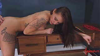 Teen anal virgin gets brutally assfucked and tastes her ass juice (4min)