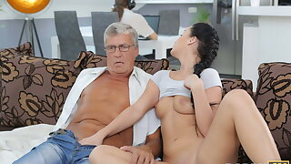 DADDY4K. Taboo sex of old guy and sweet brunette ends