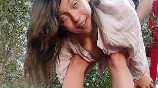 Abusing a little teenager in the woods and I cum inside
