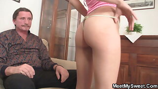 Petite girl gets her young pussy licked by old dad