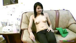 Baby face Asian teen spreads hairless pussy for foreign cock